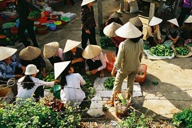 Early morning market in Vietnam