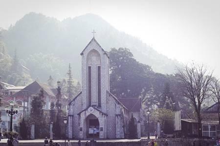 Ancient church in Sapa, Vietnam