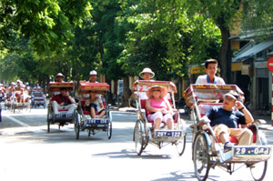 Cyclo around the Old Quarter in Hanoi