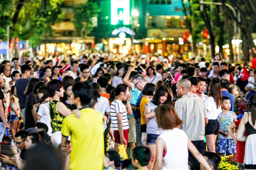Hanoi walking street is crowded at weekend