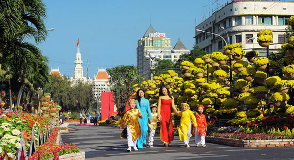 Street in Vietnam during New Year