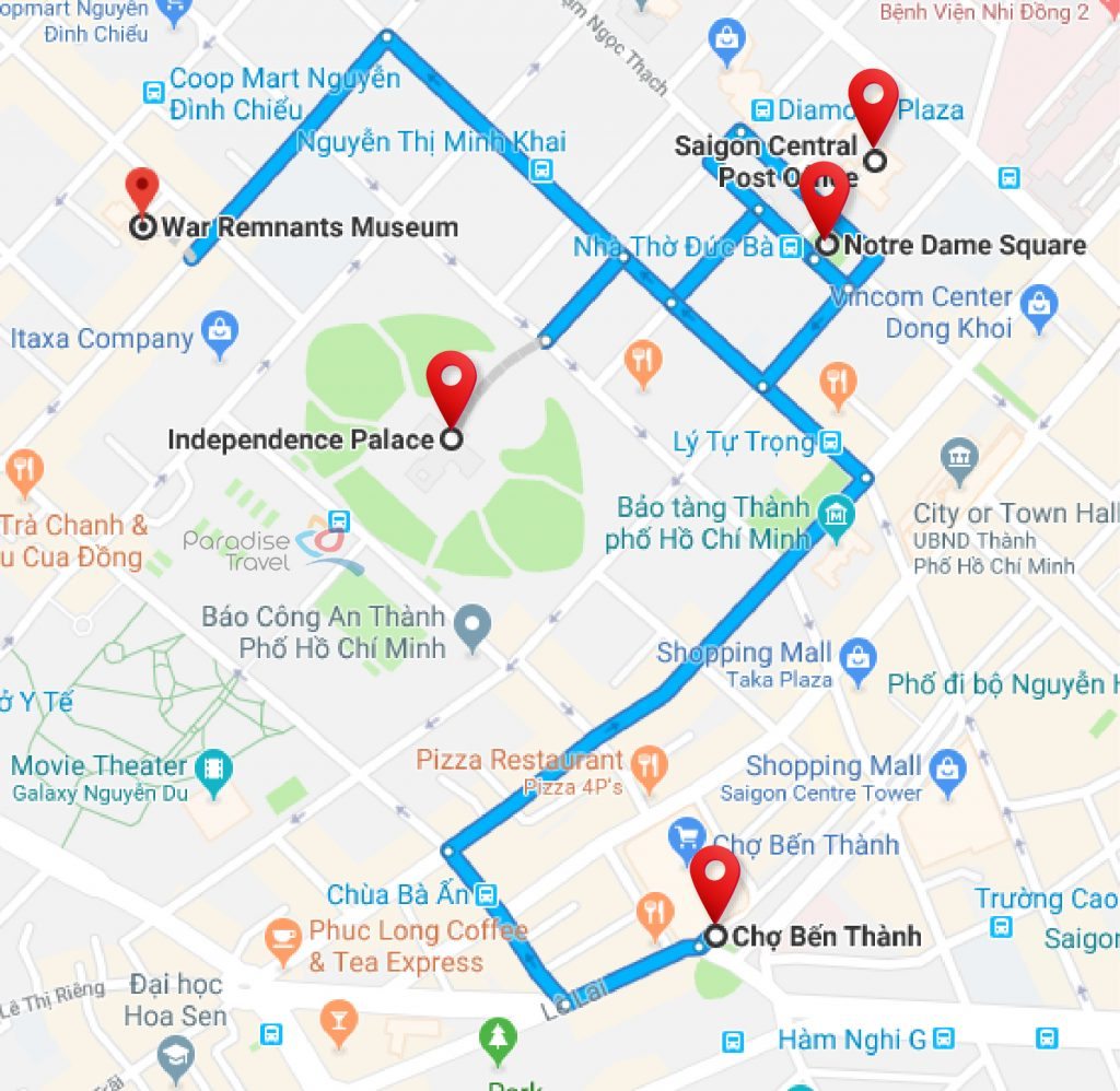 Ho Chi Minh City main attractions map - Ho Chi Minh City Travel Guide