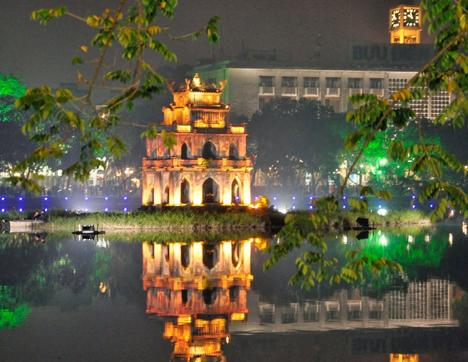 Hoan Kiem Lake at Night - Hanoi