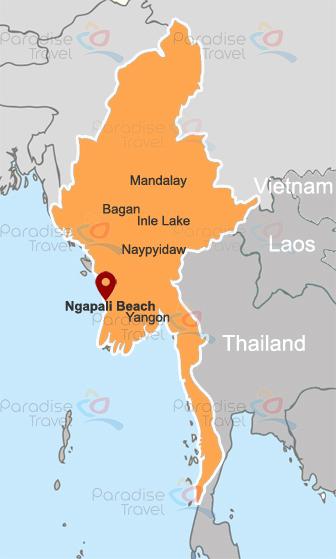 Ngapali Beach location map
