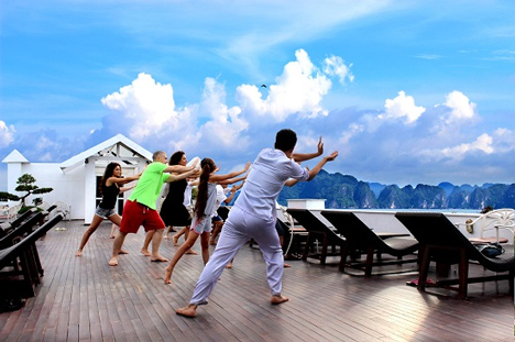 Tai Chi session on boat
